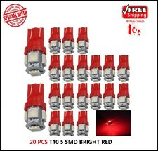 20 X Ultra RED T10 5050 LED Wedge Car 5 SMD Light Bulb W5W 194 168 2825 158 192