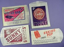 Selection of 4 Different 5 cent Ice Cream Bags - Original c1940s Unused
