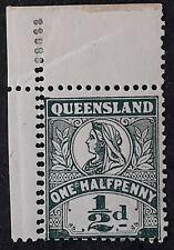 1903 Queensland Australia 1/2d Deep Green QV Stamp Mint Variety Double Perfs