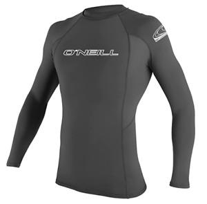 O'Neill Men's Basic Skins UPF 50+ Long Sleeve Rash Guard, DK GRAY 3342
