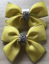 Clips 2 Girls Bottle Green And Gold Handmade Ribbon School Hair Bows Clasps