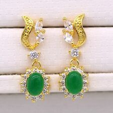 Fashion 24K Gold Plated Green Jade Crystal ZN Stud Earrings Long Earring Jewelry
