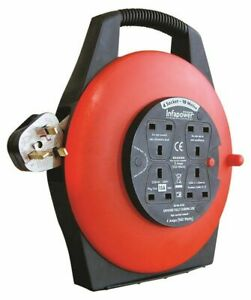 4 Gang Way 10 metre Electric Extension Cable Reel Mains Plug & Socket Lead