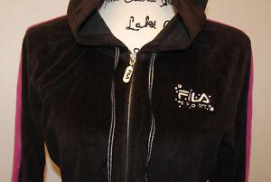 FILA Womens Juniors Full ZIp Hoodie Jersey Black, Rose Purple size M