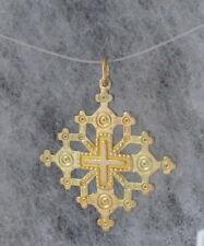 "Ukrainian Cross Brass Pendant, Square, Regular Brass, 2"" #3"
