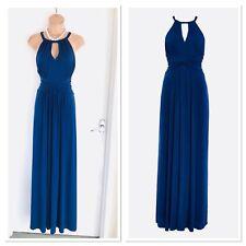Beautiful ISSA LONDON Navy Draped Maxi Dress Dress With Keyhole Neckline Uk 14