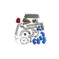 Top Mount Manifold Turbo + Intercooler Kit For Mazda Miata MX-5 1.8L NA-T Blue