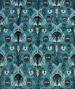 Modern Ikat Rug, 8'x10', Aqua, Hand-Knotted Bamboo Silk Pile