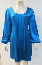 ABAETE Jewel Tone Blue Silk Tunic Dress Size 4, EUC
