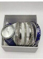 Womens Dark Blue Watch Bracelet Strands Bangle Set 10 Piece