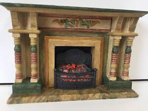 ARTISAN HELEN O'KEEFE HAND PAINTED FIRE SURROUND VINTAGE DOLLS HOUSE DOLLHOUSE