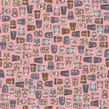 QT Thimble Pleasures by Dan Morris 24159 P Pink Thimbles Cotton FabricBTY