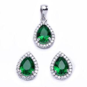 Halo 2.50ct Pear Cut Green Emerald & Cz .925 Sterling Silver & Pendant Jewelry S