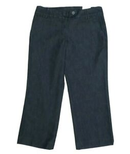 NWT Express Editor Stretch Denim Crop Pants Size 4 Dark Wash