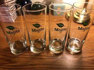 "4 Mojito Libbey Mint Leaf 10 oz Highball Cocktail Glasses 6"" Tall Bar Ware Patio"