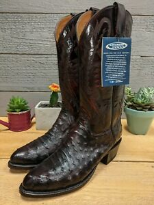 Lucchese 2000 Full Quill Pin Ostrich Black Cherry 7.5 EE Men's Cowboy Boots