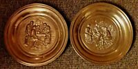 """Pair Antique/Vintage Punched Brass 12"""" Wall Hangings Medieval Pub Scenes VGC"""