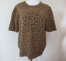 Tally-Ho Short Sleeve Sweater Women L Giraffe Print Angora Lambswool Blend