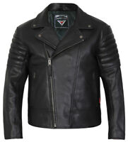 Leather Motorcycle Motorbike Jacket Biker Mens Black CE Armoured Brando Skintan