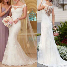 White Ivory Lace Applique Mermaid Wedding Dress Bridal Gown Short Sleeves Custom