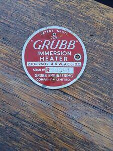 """the Grubb heater"" Vintage Brass Industrial Plaque"