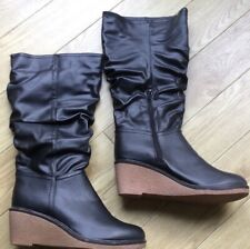 Ladies Boots Black Pu Wedge New Size 6 Uk