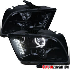 For 2005 2009 Ford Mustang Glossy Black Smoke Led Halo Projector Headlights Pair Fits Mustang