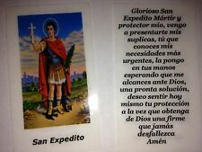 SMALL HOLY PRAYER CARDS FOR SAN EXPEDITO (SAINT EXPEDITE) IN SPANISH SET OF 2