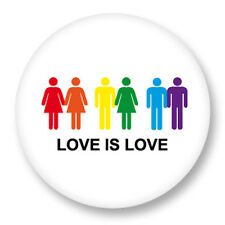 """Pin Button Badge Ø25mm 1"""" Gay Homo Peace and Love Paix Amour LGBT"""