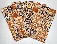 Set of 4 BEIGE Jewish Judaica Napkins with Stars of David
