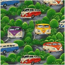 Fat Quarter VW Camper Vans On Tour Green Cotton Quilting Sewing Fabric
