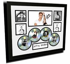 NEW JUSTIN BIEBER 2015 PURPOSE CDS SIGNED LIMITED EDITION FRAMED MEMORABILIA