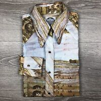 Men's Vintage Miller Western Pearl Snap Slim Fit Cowgirl Dress Shirt Size Small