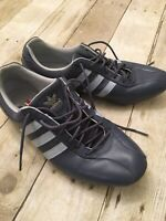 Vintage Adidas Mens Team Goodyear Driving Shoes Size 8.5 Blue Leather Rare Style