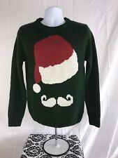 Santa Hat Mustache Christmas Red Green White Wool Blend Mens Sweater MEDIUM EUC