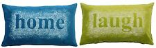 2X EMBROIDERED SPIRAL HOME LAUGH TEAL GREEN VELVET BOUDOIR CUSHION COVER 28X48CM