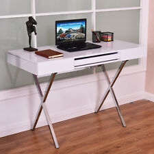 Computer Desk PC Laptop Table Workstation Metal Frame Wood Top w/Keyboard Tray