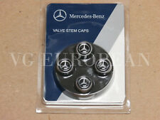 Mercedes-Benz Genuine Tire Valve Steam Cap Set, Silver Star on Black Caps OEM