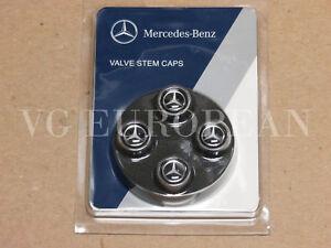 Mercedes-Benz Genuine Tire Valve Stem Cap Set, Silver Star on Black Caps OEM