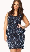 New Retro Pinup Forever 21 Plus Sizes Blue Leopard Spot Print Peplum Dress 2x