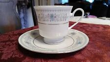 Fine China Tea Cup and Saucer Blue Floral with Silver Trim Made in China