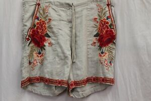 NWT Johnny Was 3J Workshop JWLA Biya Linen Embroidered Burke Drawstring Shorts M