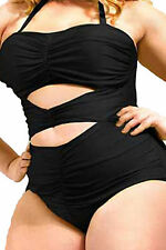 Black New Sweetheart Ruched Plus Size Swimsuit Womens Summer One piece 3XL US 14
