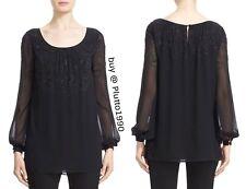 NWT$1095 St. John Collection Silk Georgette Scoop Neck Blouse Black [SZ 6] #C342