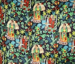 "10 Yard Black Frida Kahlo Hand Printed 100% Cotton 44"" width Dress Making Fabric"