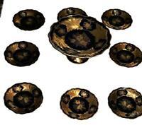 Weimar German Porcelain JUTTA BLUE Cobalt Blue & Gold Rose Cake Stand & 8 Plates