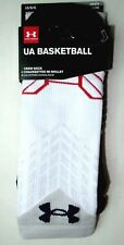 Under Armour UA Men's Basketball Crew Socks Large 9-12.5 White Blue Red New Tags