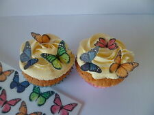 30 Small Mixed Monarch Butterflies Edible Cupcake Toppers Cake Decorations 3D