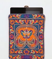 Rare Free People iPad Case Sleeve Pouch Tempe Embroidered Leather Suede Tablet