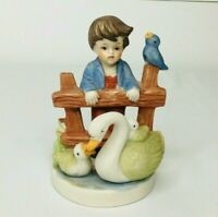 Vintage Home Interiors Homco Figurine Boy Bird Swan Porcelain